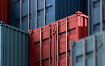 Stack of containers box, Cargo freight ship for import export logistics 3D rendering